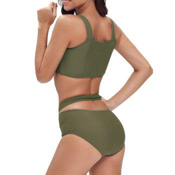 Criss Cross Cropped Bandage Bikini Set - ARMY GREEN ARMY GREEN