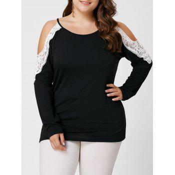 Plus Size Lace Panel Long Sleeve Cold Shoulder Tee