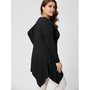 Lace Trim Long Sleeve Asymmetirc Plus Size Tee - BLACK BLACK