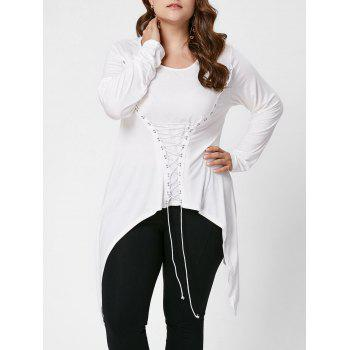 Plus Size Lace-Up Bodice Layered Top