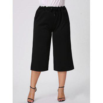 Plus Size Ruffle Drawstring Waist Gaucho Pants - BLACK 3XL