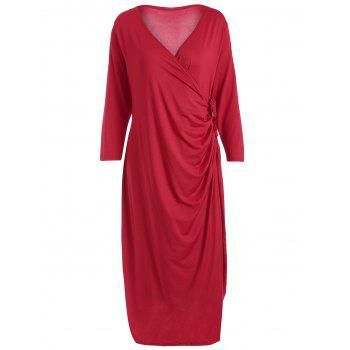 Plus Size Knee Length Wrap Dress - RED RED