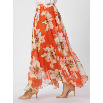 Plus Size Chiffon Floral Maxi Skirt - BURNT ORANGE BURNT ORANGE