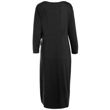 Plus Size Knee Length Wrap Dress - BLACK BLACK