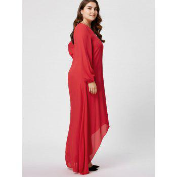 Plus Size High Low Maxi Chiffon Flowy Dress with Sleeves - RED RED
