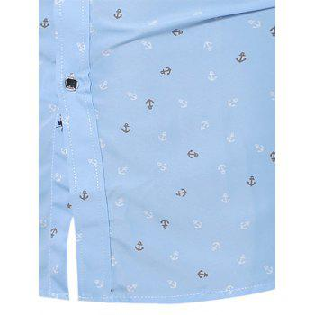 Button Down Anchor Print Shirt - CLOUDY CLOUDY