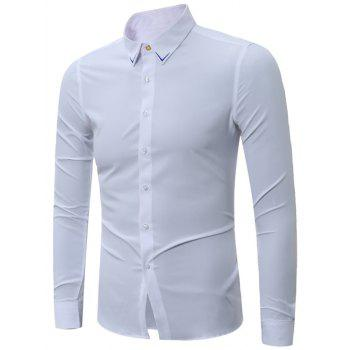 Long Sleeve Embroidered Turndown Collar Shirt