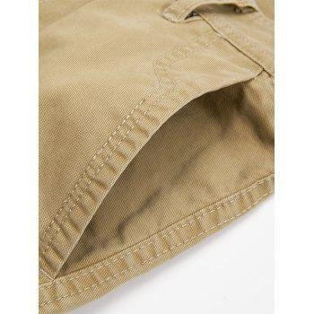 Zipper Fly String Pocket Cargo Pants - KHAKI KHAKI