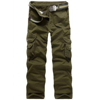 Zipper Fly String Pocket Cargo Pants - ARMY GREEN 34
