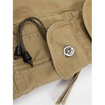 Zipper Fly String Pocket Cargo Pants - COFFEE 36