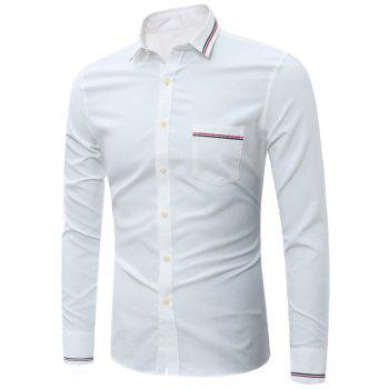 Long Sleeve Stripe Detail Chest Pocket Shirt - WHITE WHITE