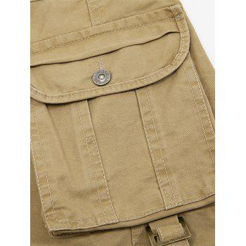 Zipper Fly String Pocket Cargo Pants - Café 32