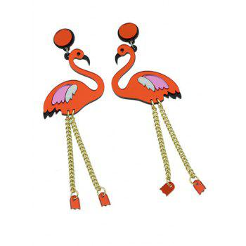 Wings Bird Chain Drop Earrings - RED