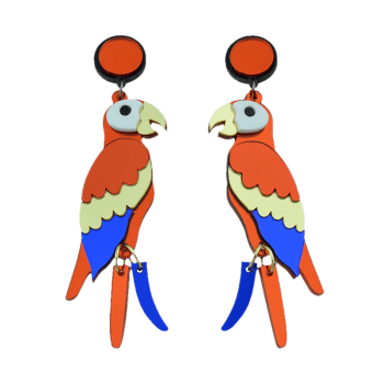 Parrot Bird Drop Earrings -  COLORMIX