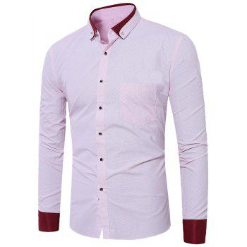 Dots Print Button Down Pocket Shirt - LIGHT PINK LIGHT PINK