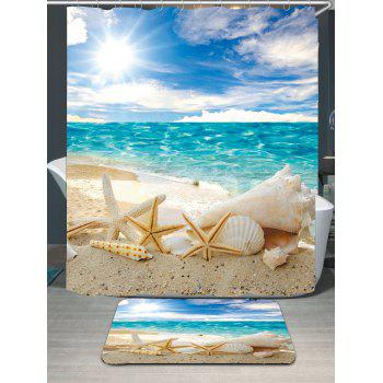 Conch Shells Beach Waterproof Shower Curtain Carpet Set