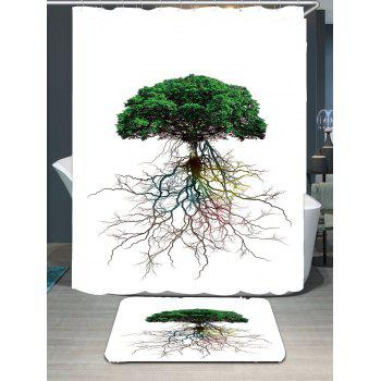 Tree Bia Root Printed Waterproof Shower Curtain and Mat - GREEN GREEN