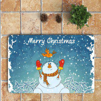 Christmas Snowman Pattern Nonslip 3Pcs Bathroom Rugs Set - BLUE/WHITE