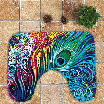 Peacock Feathers Printed Nonslip 3Pcs Bathroom Rugs Set - COLORFUL