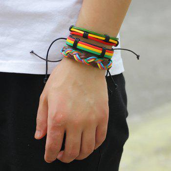 Artificial Leather Woven Multicolor Layered Bracelet -  COLORFUL