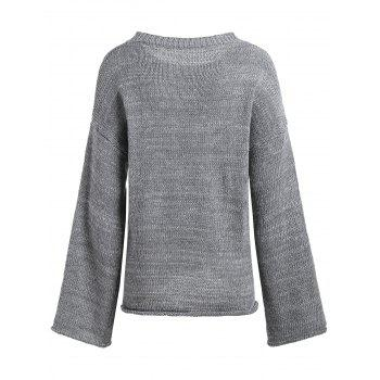 Drop Shoulder Loose Boyfriend Sweater - GRAY GRAY