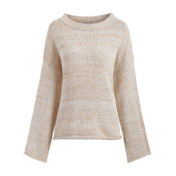 Drop Shoulder Loose Boyfriend Sweater - OFF-WHITE ONE SIZE