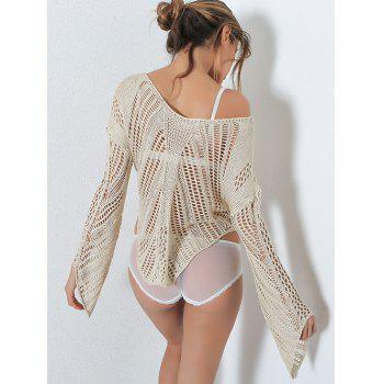 Crochet Hollow Out Asymmetric Sweater - ONE SIZE ONE SIZE