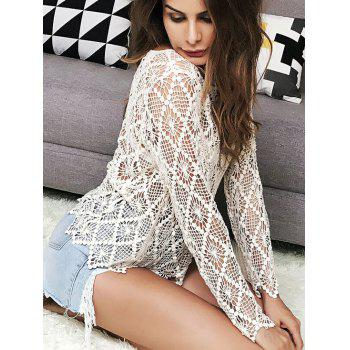 Crochet Sheer Hollow Out Sweater - ONE SIZE ONE SIZE
