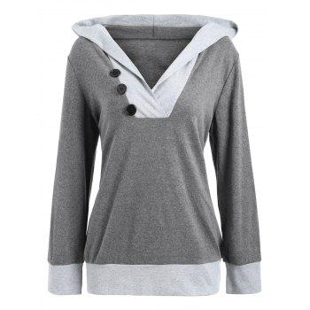 Color Block Button Embellished Hoodie - DEEP GRAY DEEP GRAY