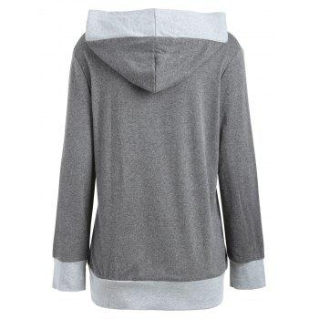 Color Block Button Embellished Hoodie - M M