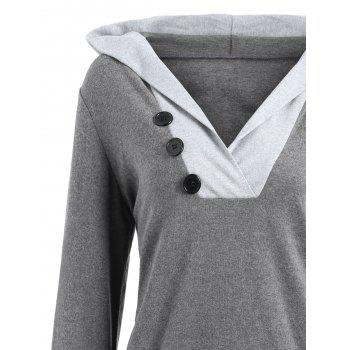 Color Block Button Embellished Hoodie - XL XL