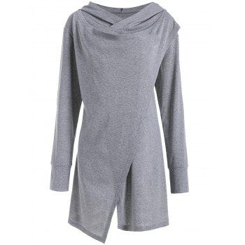 Hooded Overlap Asymmetrical Plus Size Top
