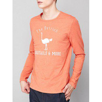 Long Sleeve Ostrich Graphic Print T-shirt