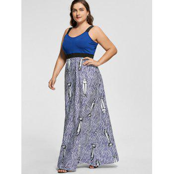 Empire Waist Fish Pattern Floor Length Plus Size Robe - Bleu XL