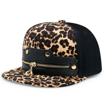 Leopard Zipper Artificial Leather Splicing Baseball Cap - LEOPARD PRINT PATTERN LEOPARD PRINT PATTERN