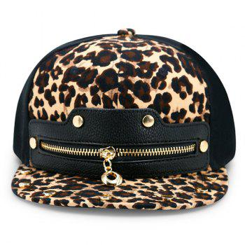 Leopard Zipper Artificial Leather Splicing Baseball Cap -  LEOPARD PRINT PATTERN