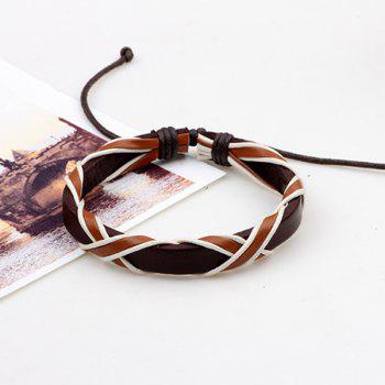 Faux Leather Woven Vintage Friendship Bracelets Set -  BROWN