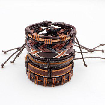 Faux Leather Woven Vintage Friendship Bracelets Set - BROWN BROWN