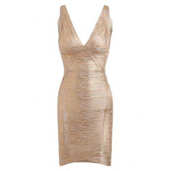 V Neck Bronzing Club Bandage Dress