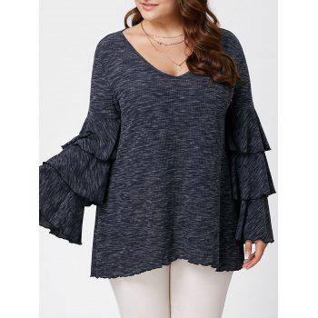 Plus Size Layered Flare Sleeve Tunic Top