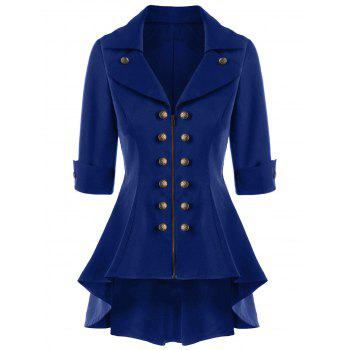 Double Breasted Short Flare Trench Coat - NAVY BLUE NAVY BLUE
