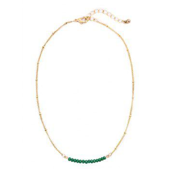 Collarbone Beaded Chain Necklace - GREEN GREEN