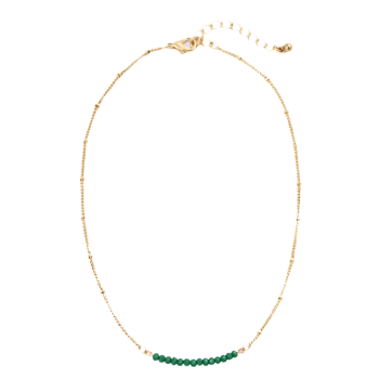 Collarbone Beaded Chain Necklace -  GREEN