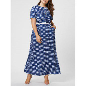 Button Plus Size Polka Dot Maxi Dress with Blet
