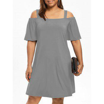 Plus Size Cold Shoulder Half Sleeve Dress