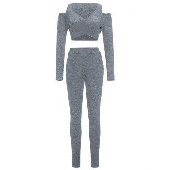 Cold Shoulder Crop Top and Skinny Pants - GRAY S