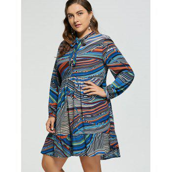 Plus Size Striped Chiffon Pussy Bow Dress - 3XL 3XL