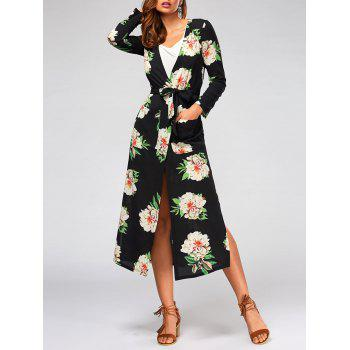 Long Sleeve Flower Print Belted Maxi Blouse