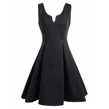 Open Back Sleeveless A Line Dress - BLACK XL