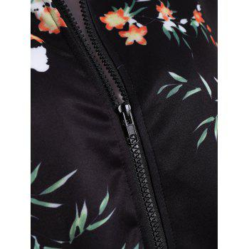 Long Sleeve Zip Up Floral Jacket - S S
